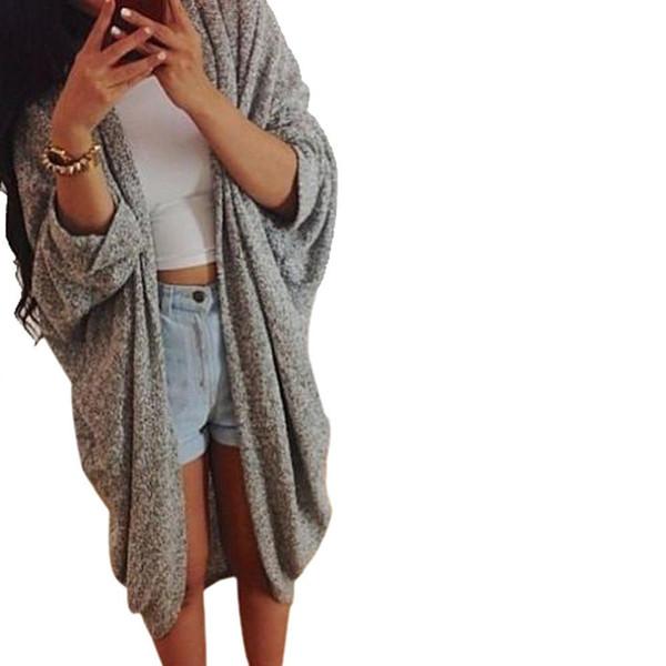 Fashion women basic coats Eurporen style Lady girl Casual Knit Sleeve Sweater Coat Cardigan Jacket winter jacket women TONSEE