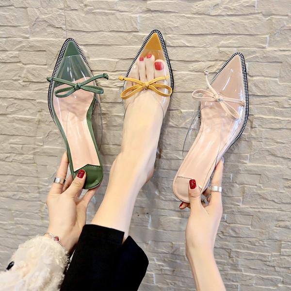 Mujeres damas femeninas Zapatos para mujeres medias zapatillas Scuffs Sandalias mulas holgazán tacones gruesos tacones puntiagudos Zapatos sin cordones Pajarita de tobillo