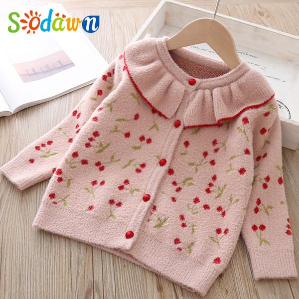Sodawn 2019 Autunno Inverno Corredo maglioni cappotto coreano O-Collo Pullover bambini Top modello della ciliegia del cardigan costume dei bambini
