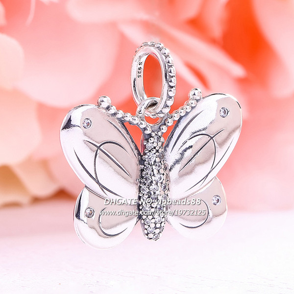 2019 pendentif papillon décoratif en argent Sterling Release printemps 925 avec clair CZ Dangle Charm perles Convient Européen Bracelets Pandora