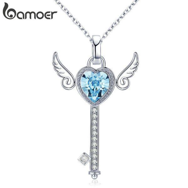 BAMOER Romantic Guardian Key Silber Farbe Engelsflügel Anhänger Halsketten für Frauen Hochzeit Engagement Schmuck Geschenk YIN073