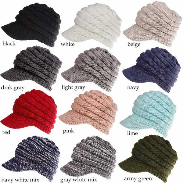 f6f69b16a5edd4 wholesale Winter CC Ponytail Hats 12 Colors Knitted Baseball Beanie Warm  Caps Crochet Hat Messy High