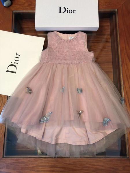 Herbstkleid scherzt Entwerferkleidungsmehrschichtiges sleeveless Mädchen weiches Häkelarbeitblumenschmetterlingskleid, das das neue Beste der Baumwolle füttert