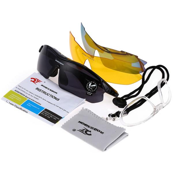 Robesbon 0089 Men Cycling Eyewear UV400 Outdoor Occhiali da ciclismo Bicicletta Sport occhiali da sole 3 lenti # 182036