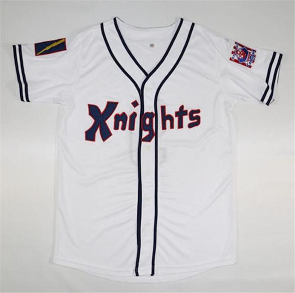 HOT New York Knights The Natural # 9 Roy Hobbs Baseball Branco Preto Filme Jerseys Roy Hobbs Shirts 1939 100 Baseball Centennial Remendo