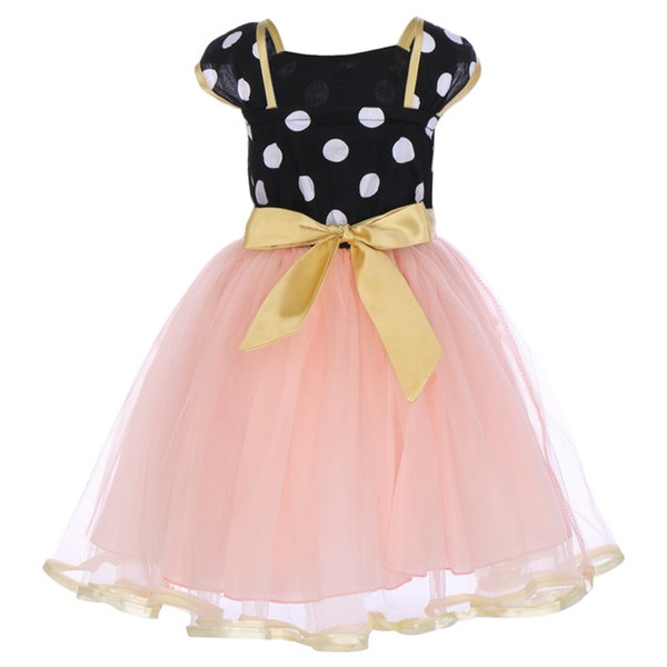 Girls Dress Baby Kids Mouse Dress Polka Dot Bowknot Tulle Ball Gown Girls Birthday Clothes for Photo Shoot