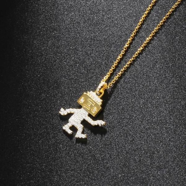 ANL038, S925 Sterling Silber Kragen Aussage 5A Zirkon Kristall Tanzen Musik Roboter Anhänger Halskette Für Frauen