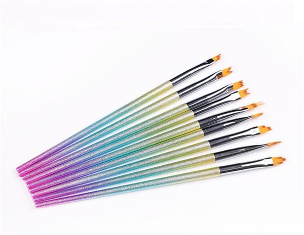 Pennello per unghie 9PCS / Set di Pennello per gel Set di pennarelli sfumati Fiore per unghie Pennello per unghie Pennello per unghie Forma irregolare