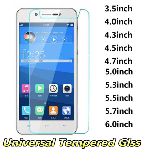 Pellicola salvaschermo universale in vetro temperato 3.5 4.0 4.3 4.5 4.7 5.0 5.3 5.5 5.7 6.0 pollici per iphone samsung huawei xiaomi zte lg sony