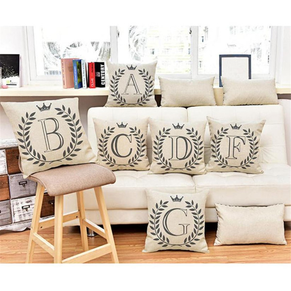 New 1PCS Simple Fashion Letters Pattern Cotton Line Throw Pillow Case Square Pillow Cases 45*45cm Throw Pillowcase Pillows Cover
