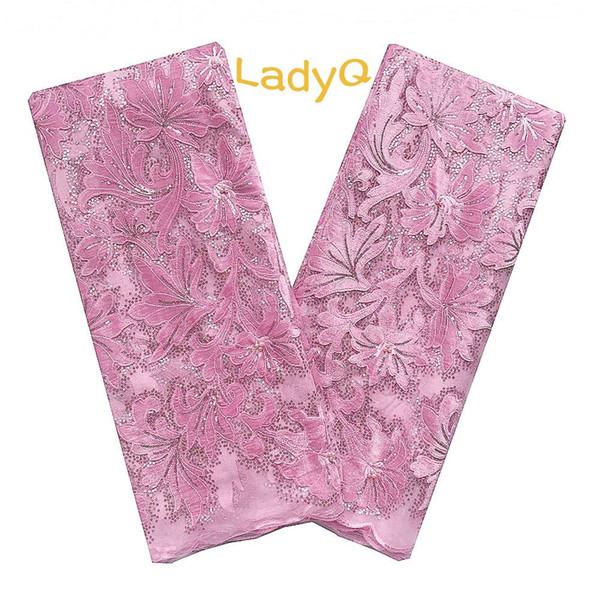Aso Ebi 2019 Tüll Spitzenstoffe Baby Pink Hochwertiger afrikanischer Spitzenstoff mit Sequence Velvet Materials Nigerian Lace Fabric