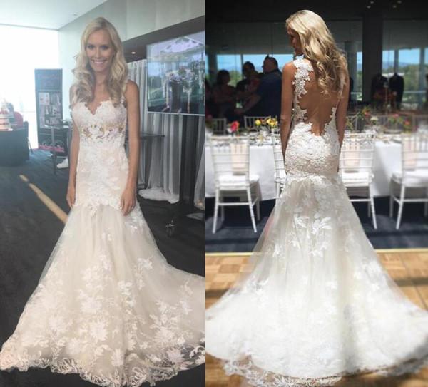 Abiti da sposa vintage sirena arabo del merletto del Dubai 2019 con i vestiti nuziali Wedding del collo del gioiello del collo di Appliques