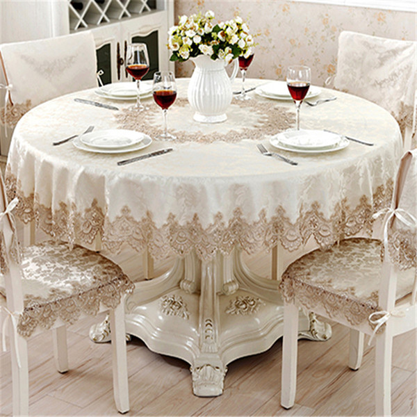 Lanweini Classical Round Tablecloth For Table Decor Jacquard Lace Elegant Table Cloth Dining Cabinet Cover Chair Set