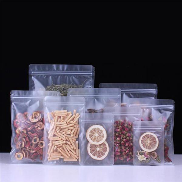 Al por mayor de Matt Ziplock plástico de empaquetado Bolsa de grado alimenticio Forsted PE plástico regalo del café Nueces de frutas en polvo de almacenamiento Bolsas LX2321