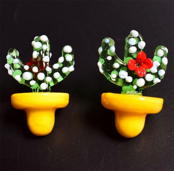 DHL Colorful 23mm Diameter UFO Glass Carb Caps Cactus Style Mini Carb Cap For Quartz Banger New Design Cartoon Smoking Accessories