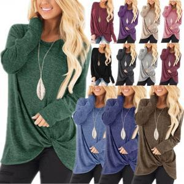Solid T-shirt Women Long Sleeve Crew Collar T-shirt Loose Sling Shirt Twist Knot Pullover Candy Colors Tops LJJV197