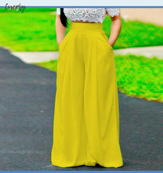 Kadınlar Bacak Geniş Yaz Pant Casual Gevşek Pantolon Bayanlar Boho Plaj Streetwear Yüksek Elastik Bel Pantolon Pantalon Femme