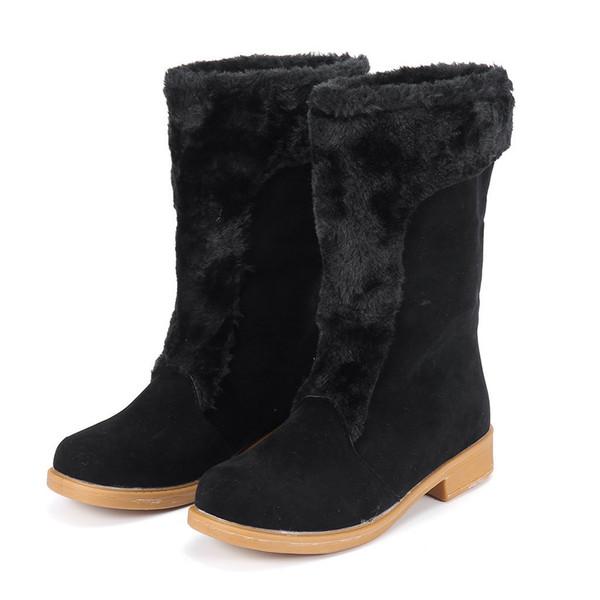 135c92afedc 2019 Botas de invierno para mujer Botas para la nieve Moda Tacón cuadrado  Zapatos de tubo