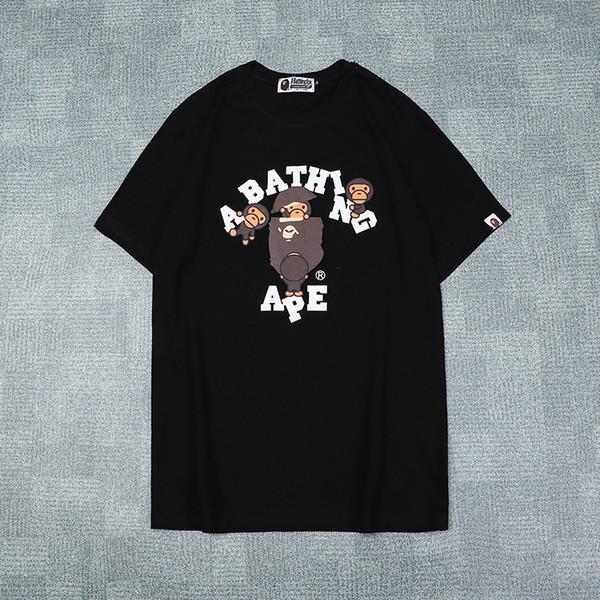 Venta al por mayor nuevo amante del verano impresión de dibujos animados casual negro blanco camisetas hombres mujeres casual cuello redondo hip hop camisetas