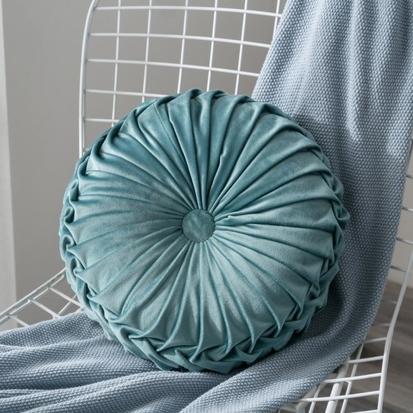 Brilliant Velvet Pleated Round Pumpkin Throw Pillow Couch Cushion Floor Pillow Decorative For Home Chair Bed Car Large Decorative Pillows Decorative Couch Onthecornerstone Fun Painted Chair Ideas Images Onthecornerstoneorg