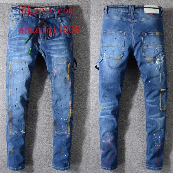 2019 skinny jeans erkekler delik yırtık kot Motosiklet Biker Denim pantolon Erkekler Marka moda Tasarımcısı Hip Hop Erkek kot hommes AB-11 dökün
