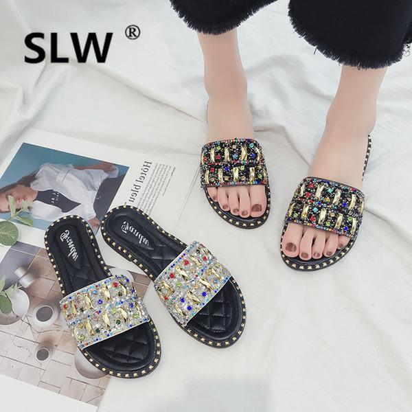 summer High wedge Crystal slipper Beach platform women Flat allmatch Slides beach flip flops Fabric Wedges Fashion Super