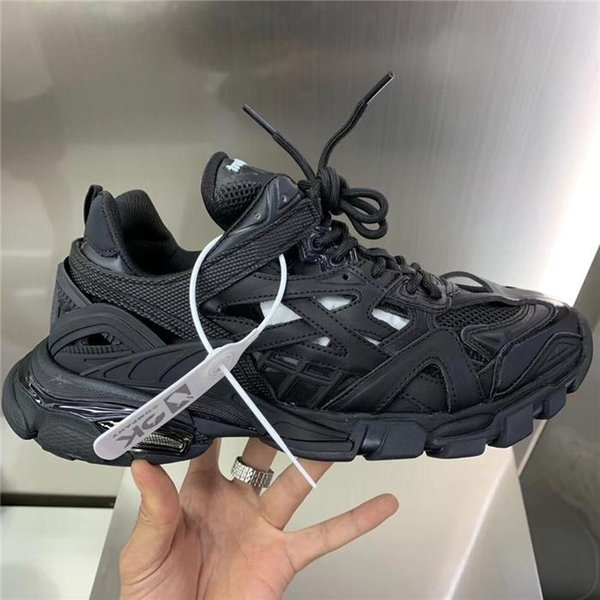 Unisex Track.2 Sneaker with Pure white for 2019, Women Mens Designer Sneakers Hiking Boots Complex multi-part combination Leather size 36-45