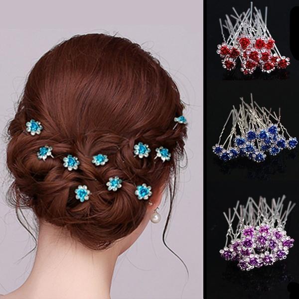 20PCS/Set Bridal Crystal Hair Clips Headwear Rose Diamond Hairpins Wedding Supplies Accessories