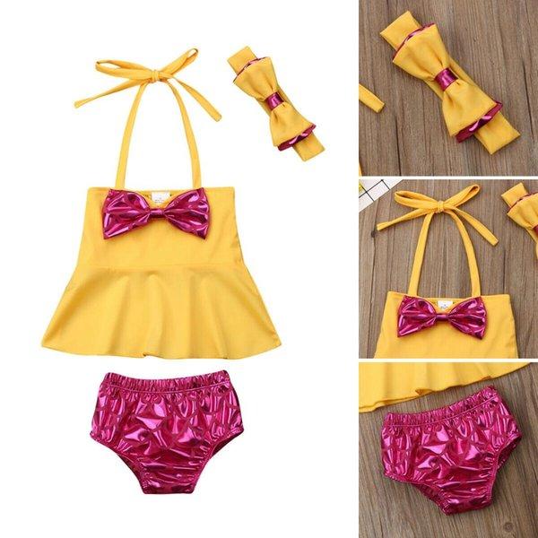 Imcute 2019 Nouveau dans la Mode Mignon Bébé Fille Jaune Arc Halter Tops + Shorts + Bandeau 3 PCS Bikini Ensemble Maillot De Bain Maillot De Bain Maillot De Bain