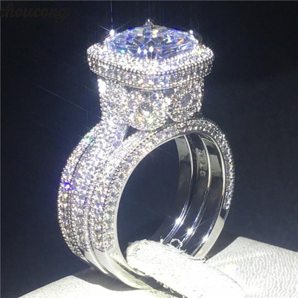 Choucong 3-em-1 Vintage Promise Anel Set 5a Zircon Cz 925 Sterling Silver Anéis de Noivado de Casamento Banda Para As Mulheres Do Partido Jóias MX190718
