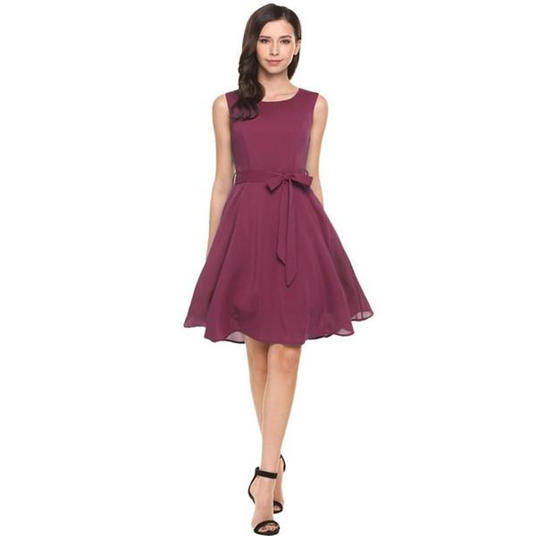 25742b432 AL OFA las mujeres cóctel elegante vestido de verano sin mangas sólido  cinturón fiesta de