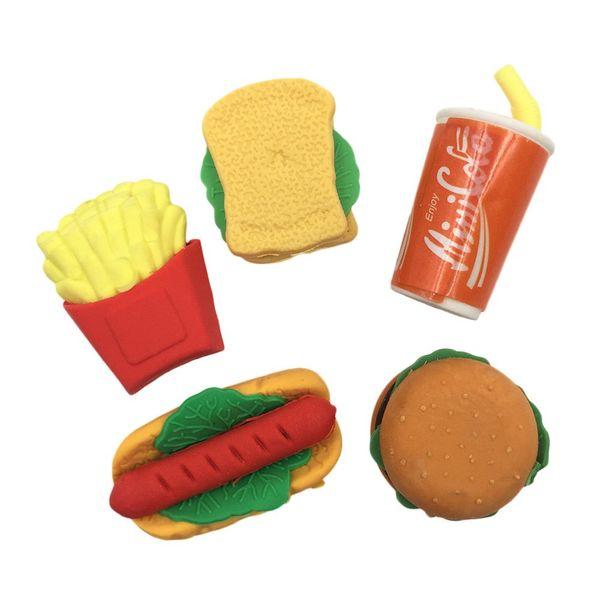 Fast Food Rubber Erasers, Novelty Cute Pencil Eraser Set, Include Hamburger, Hot Dogs, Sandwich, Chips, Coke