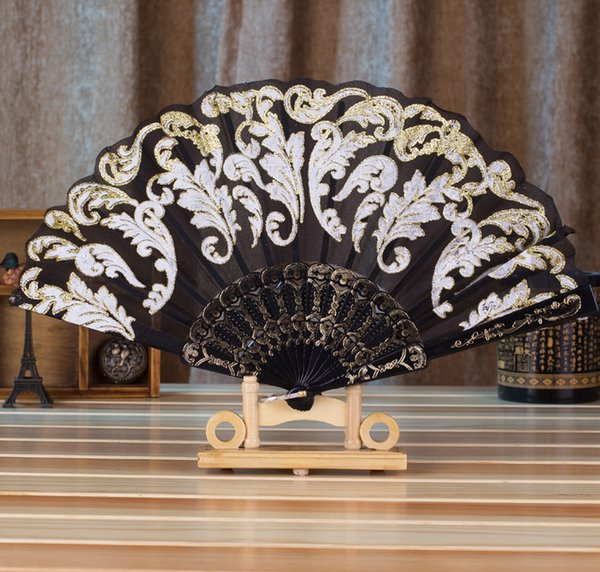Summer Chinese/Spanish Style Dance Wedding Party Lace Silk Folding Hand Held Flower Fan Gift Colorful Dropshipping