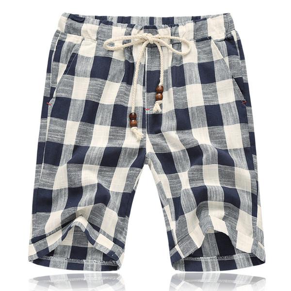 Hcxy 2019 Estilo de verano de los hombres de lino pantalones cortos casuales de los hombres de tela escocesa de rayas de lino de algodón pantalones cortos pantalones de playa ocasionales de los hombres más el tamaño 5xl MX190718