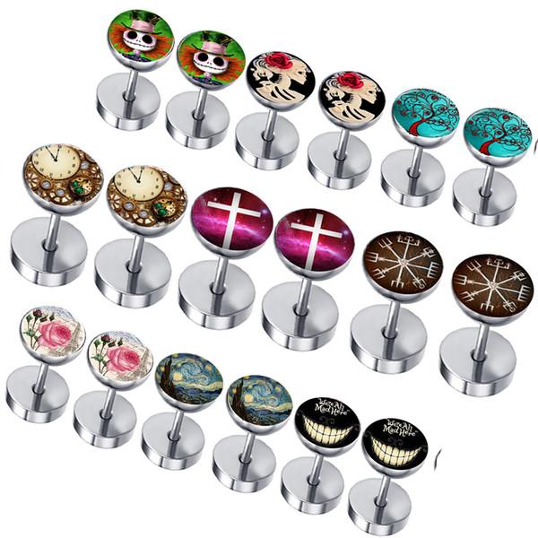 Mix 50 LOGOS Stainless Steel Men Ear Stud Cheater Earrings Gauges Fake Plugs Wholesale Body Jewelry Tragus Piercing