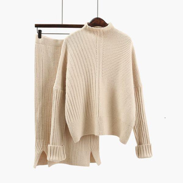 2019 mujeres de lana traje de punto caliente suave del otoño del resorte del juego del suéter femenino suéter falda 2 piezas Conjunto beige, azul, caqui T191205