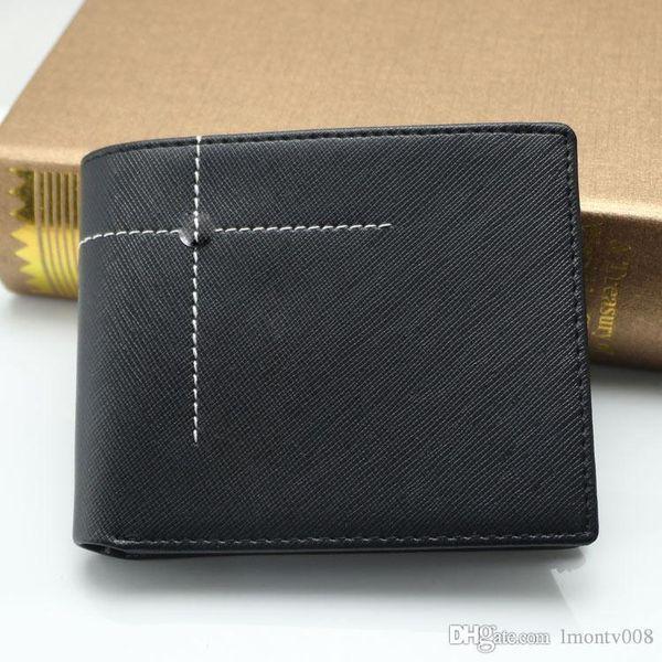 New men fashion business MT genuine leather business card case bag black short wallet casual card photo holder pocket