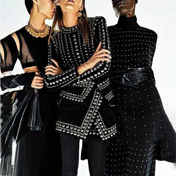 Heavy Rivet Patchwork Sexy Women Dress Stand Collar High Waist Long Sleeve Short Dresses Female Spring 2019 Fashion