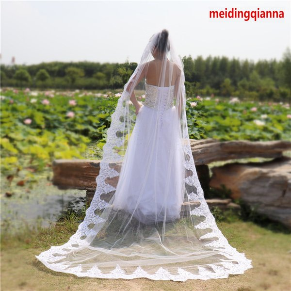 Hot Best Selling Real Pictures One White Ivory Wedding Veil Cathedral Length Lace Applique Edge Bridal Veil Alloy Comb Meidingqianna Brand