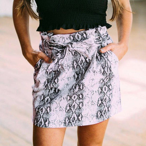 Mini skirts Fashion Women Casual Leopard Knot Belt Bandage Pocket Mini Short Bodycon Skirt T525