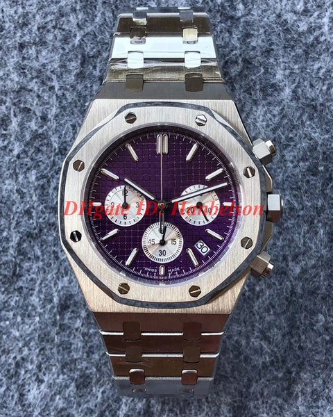 NEW Luxusuhr designer watches All stainless steel mens watches VK Chronograph Quartz Sapphire crystal mirror Purple dial montre de luxe 42mm