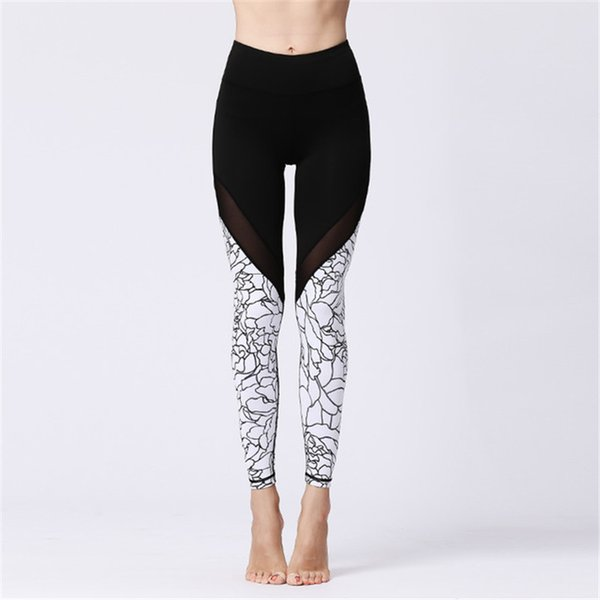 Womens High Waisted Workout Leggings Sport Yoga Pants Fitness Running Dance Trousers Mesh Stitching Skinny Pants Quick Dry Tight Ankle Pants