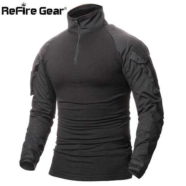 ReFire Engrenagem Camuflagem Do Exército T-Shirt Dos Homens DOS EUA Soldados RU Combate Tático Camisa Militar Força Multicam Camo Camisas de Manga Longa T