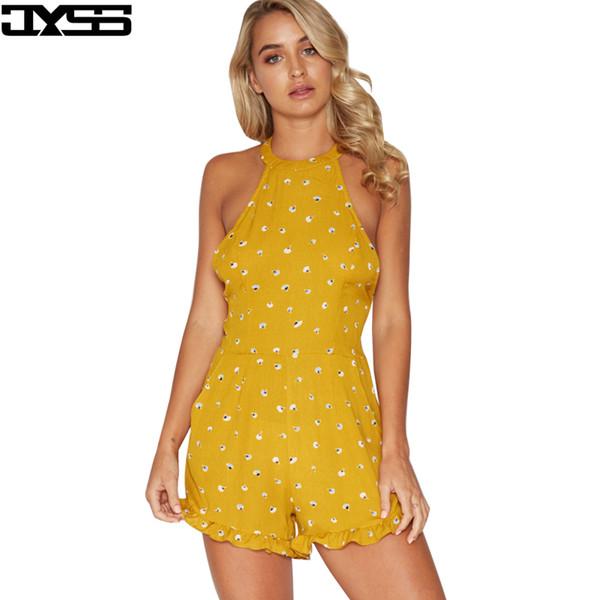 JYSS estate bohemien nuove donne body di loto per ragazza stampa gialla halter backless pantaloncini tuta sexy femminile 80933