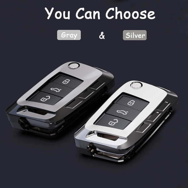 High Quality Folding 3 Buttons Car key wallet case bag For Volkswagen VW Golf 7 Skoda Octavia Karoq Fob Auto Decor Accessories