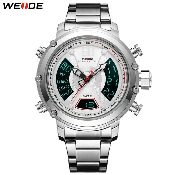 998eacec12c WEIDE New Arrival Analog Digital Dual Display Quartz Men Sport Watch  Business Stainless Steel Strap Clock