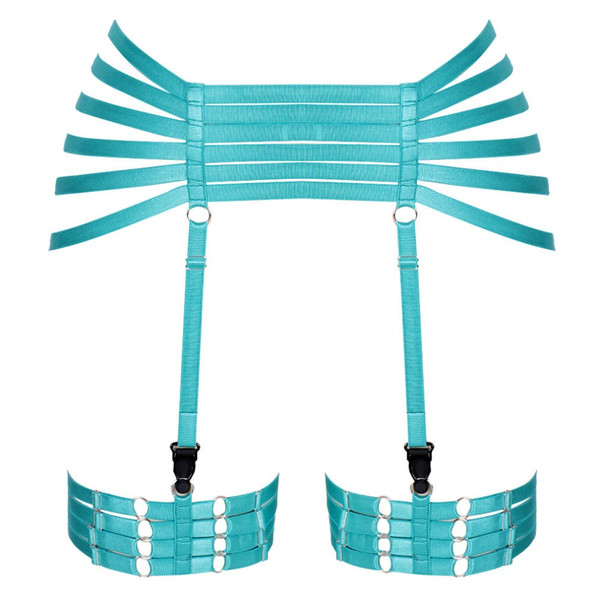 Elastic Hight Waist Leg Garter Belts Stockings Top Cage Harness Punk Gothic Women Dance Clothing Plus Size Bralette Hollow Out