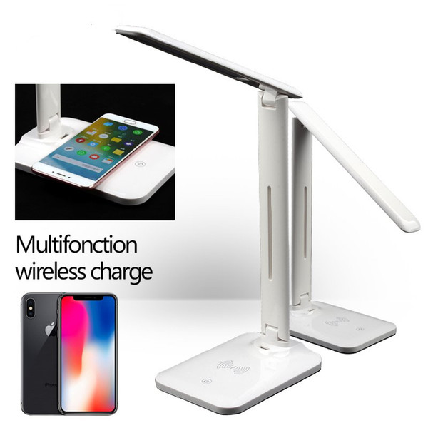 Lámpara de mesa LED Lámpara de escritorio Cargador inalámbrico Qi Cargador USB plegable Plegable