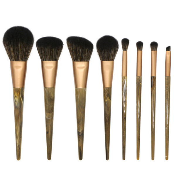 marble makeup brushes set 8-pieces gemtotal foundation blending powder blush eyebrow eyeshadow high grade resin handle synthetic hair(black