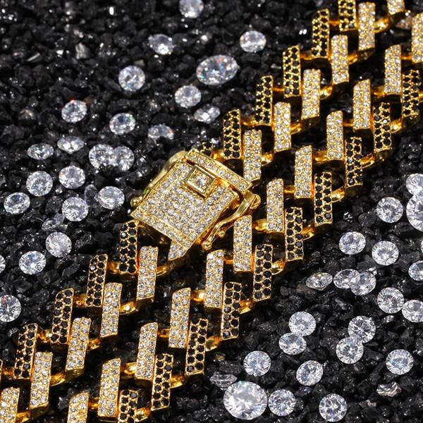 Hip Hop Bling Correntes Jóias Homens Iced Out Chains Colar de Prata de Ouro Preto Azul Diamante Miami Correntes da Ligação Cubana